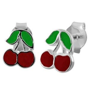 NWT Sterling Silver and Enamel Sweet Cherry Posts